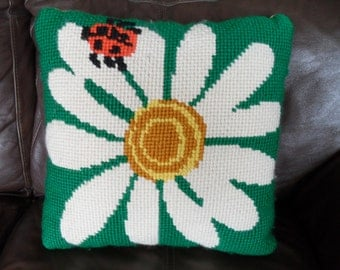 Vintage Ladybug Daisy Flower Embroidery Pillow 1960s 1970s