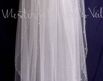 Veil with Blusher Beaded edge Fingertip length  Elegant Wedding CRYSTALS and PEARLS EDGE   veil with comb Diamond white, Ivory or White