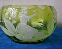 Antique Green Mary Gregory Bowl/Vintage c. 1920s/Czech Blown Glass Small Bowl/Girl With Lilly of the Valley