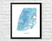 Cape May New Jersey Art Map Print.  Color Options and Size Options Available.  Map of Cape May.
