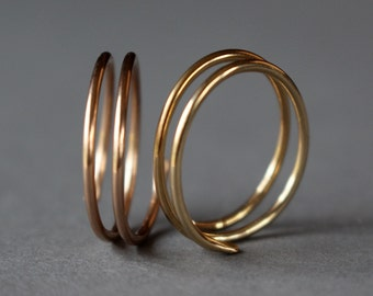 Rose Gold Spring Ring, Yellow Gold Spring Ring, Sterling Silver Spring Ring, Choice of 1, Double Stack Ring