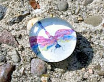 Beautiful Colorful Dragon Fly Glass Collage Pendant- hippie, hipster, rainbow, boho, bug, handmade, jewelry supplies