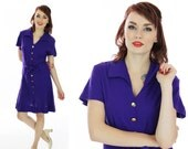 70s A-line Dress 1960s Mod Mini Vintage Purple Gold Buttons Sixties Mad Men 1970s Small S M Medium