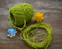 Lime Green: Natural Hemp Yarn from Nepal, Hand Spun Hemp Fiber / Fibers, Hemp Thread, Nepalese Hemp, Jewelry making, Craft / Yellow, Limesh