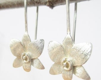 Silver Orchid Earring, sterling flower , matte finish