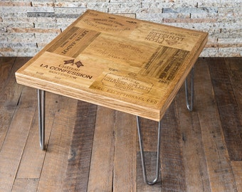 Wine Lover End Table with Hairpin Legs