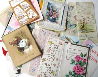 Lot of 45 VINTAGE Scrap GREETING Cards from the 1950's / 1960's  for CREATIVE Re-Purposing and Altered Art Projects