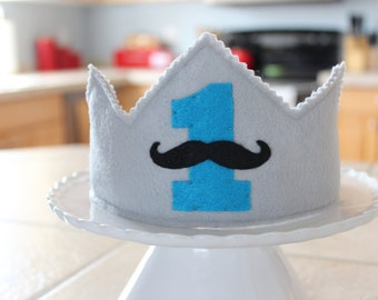 Mustache 1st Birthday Crown