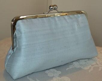 Handmade Silk Dupioni Clutch/Purse/Bag..Something Bridal Blue/Long Island Bride Wedding/Ivory/Free Monogram
