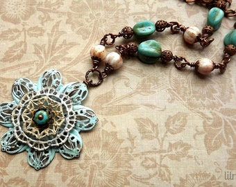 Hand painted filigree necklace in soft pastel colors