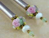 Reserved-- Hairsticks Flora's Secret In Artisan Glass On Petite Sticks