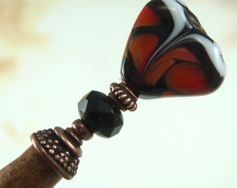 Hairstick Monarch In Artisan Glass On A Petite Stick