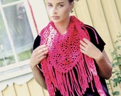 Chunky cotton triangle fringe scarf - Raspberry red