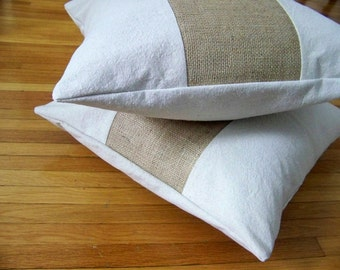free shipping - burlap stripe pillow cover / natural / canvas / burlap pillow / farmhouse / home decor / spring /
