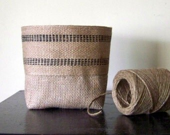 free shipping - burlap black jute basket / black stripe / fabric basket / storage / organization/ organize / storage bin / gift baske