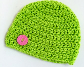 Newborn girl 0-3 months baby hat beanie lime neon green infant hat baby photo prop Ready To Ship