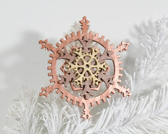 Copper and Gold Warm Metallics 5-inch Steampunk Snowflake Gears Ornament