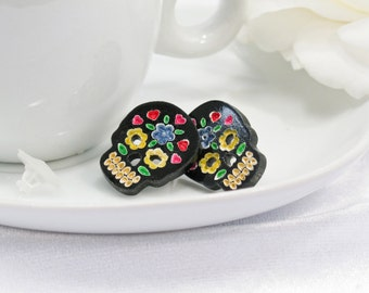 Multicolor Blue and Yellow Hand-Painted Black Sugar Skull Post Earring