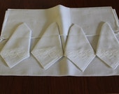 NOS 1960s Vintage 60s Classy White Placemat and Napkin Set of 4 Lace Trim