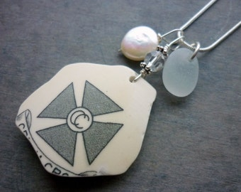 Sea Glass Necklace Gray Beach Pottery Seaglass Jewelry  Sterling Silver