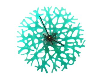 Aqua Transparent Art Glass Coral Wall Clock - One of a Kind Home Decor