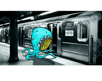 Quadropus Runnin' for the Train (14x8 Critter Art)