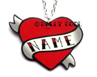 Heart Necklace Tattoo Custom Personalized Name - Your choice of word - Hand Made by Dolly Cool Rockabilly 50s