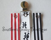 NEW ITEM---Boutique Baby Toddler Girl or Boy--Paci Clip--Pacifier Holder--Pirate Skulls Sailor Nautical Interchangeable 3 Piece Set