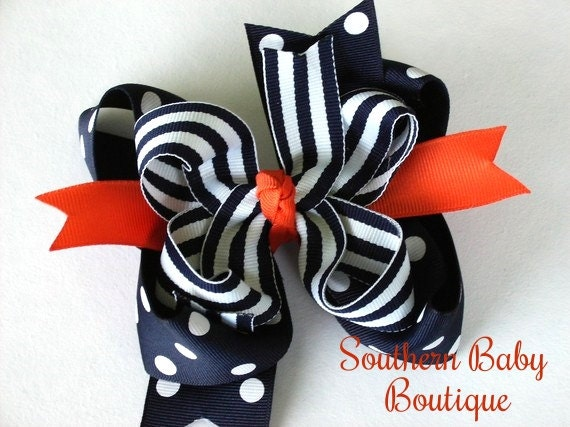 NEW----Big Boutique Doubled Layered Hair Bow Clip----Fancy Navy and Orange-----