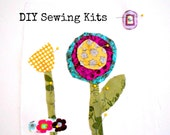 Kids DIY Whimsy Flowers Sewing Kit Girls Sewing Kit Sew a Pillow Sew a Wall Hanging 10x10 Beginner Sewng Kit Kids Sewing Kit