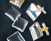 40 pcs Combo (10 pairs) - 16mm Silver Plated Brass Square Cufflink Blank with Glass tile incerts