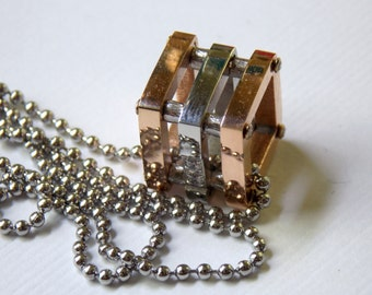 Rose Gold Stainless Steel Necklace Cube,Gold Geometric Necklace,Square Necklace,Square Cube Necklace,Less Than Perfect