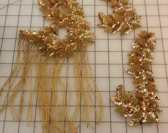 Set of 3 Gold tones colored Sequin and Bead Fringed Motifs