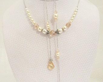 Wedding Backdrop Necklace, Back Drop Bridal necklace, Swarovski crystal necklace, Wedding jewelry, Golden shadow, Champagne crystal necklace