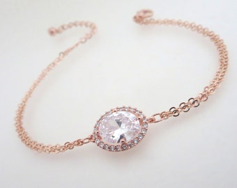 Simple Rose Gold bracelet, Rose Gold Bangle bracelet, Rose Gold Bridal jewelry, Crystal bracelet, Bridesmaid bracelet, Bridal party