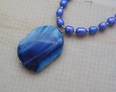 CLEARANCE-Blue Waves-stone and pearl necklace with chain, 25 1/2 inches or 65 cm