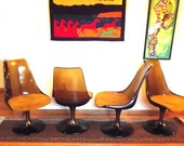 4 Swivel Chairs Chromcraft Vintage 60s Lucite Dining Chairs