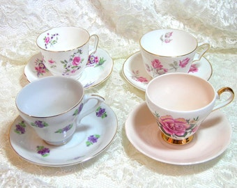 English Teacup And Saucer Collection, Mismatched Set
