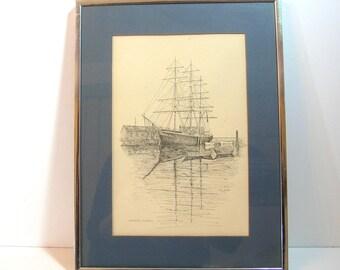 Mystic Seaport Framed Print - Joseph Conrad Ship, Vintage print