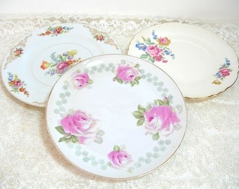 Mix And Match Floral Plates, Set Of Three