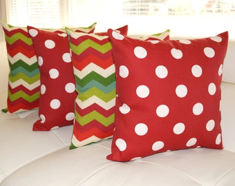STUFFED Outdoor Pillow, Chevron And Polka Dot Red Christmas Outdoor Throw  Pillow, Red And