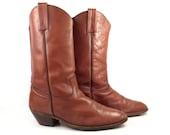 Frye Cowboy Boots Vintage 1980s Rust Brown Leather Men's size 14 D