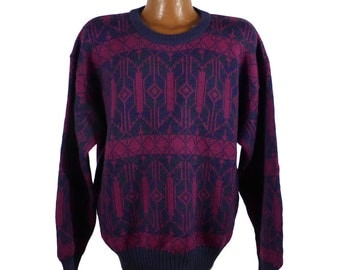Pink and Purple Sweater Jumper Vintage 1980s Wool Basic Elements