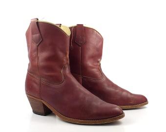 Vintage Cowboy Boots 1980s Gringo Short Whiskey Brown Leather Men's  size 10 D