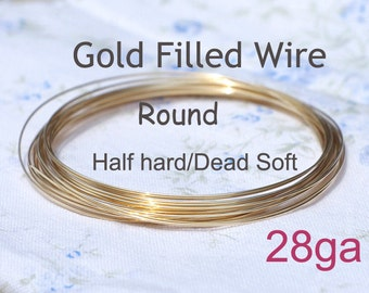 14K Gold filled wire/20ft - 28 gauge HH or DS, made in USA wholesale Jewelry Wire Supply(1028-20)