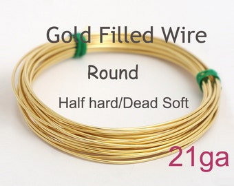 14K Gold filled wire/5ft/10ft - 21 gauge HH or DS, made in USA wholesale Jewelry Wire Supply(1021)