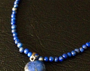 Heart on Lapis Lazuli 3mm Beaded Necklace