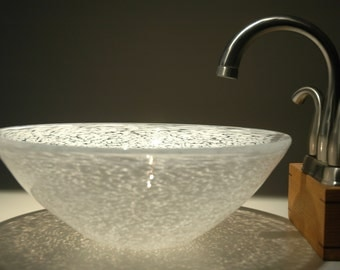 White hand blown glass vessel sink