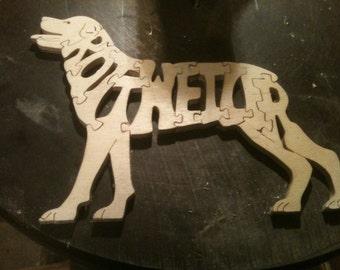 Wooden 11 piece Rottweiler jigsaw puzzle