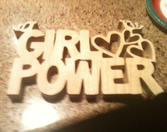 Wooden Girl Power wall hanging